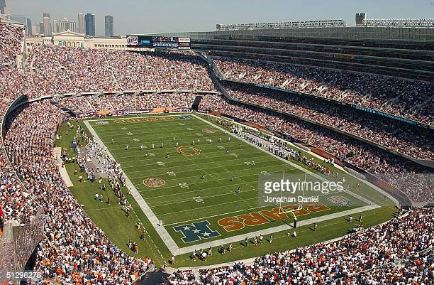 A general view of the season opening kickoff between the Chicago Bears and the Detroit Lions during a game on September 12 2004 at Soldier Field in...