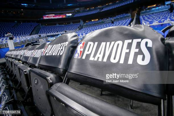 A general view of the seating area for the Toronto Raptors prior to Game Three of the first round of the 2019 NBA Eastern Conference Playoffs between...