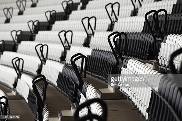 General view of the seating in the Olympic Stadium during the National Lottery Olympic Park Run at Olympic Stadium on March 31, 2012 in London,...