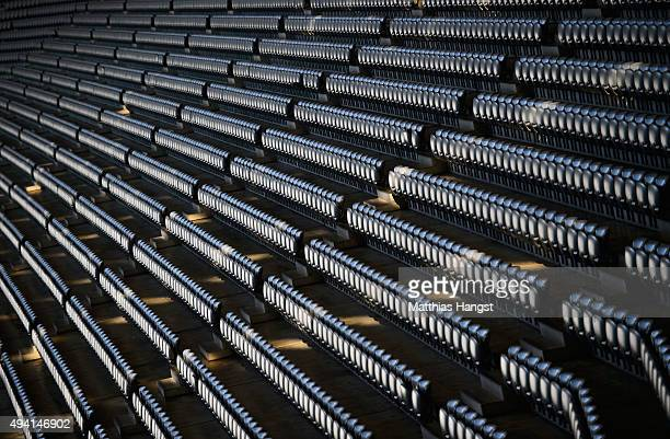 General view of the seating with Allianz branding in the Allianz Arena seen prior to the Bundesliga match between FC Bayern Muenchen and 1. FC Koeln...