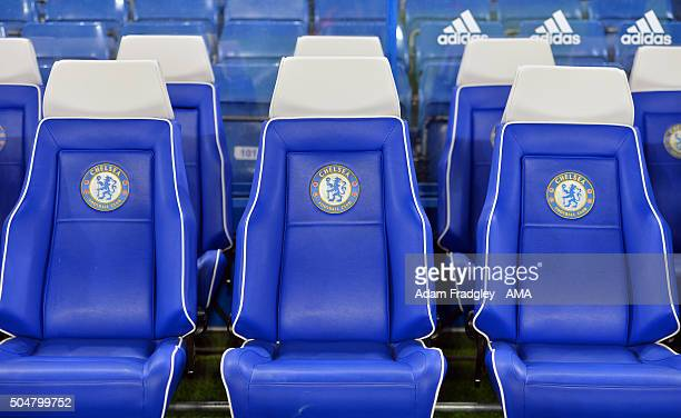 General view of the seats in the Chelsea dugout before the Barclays Premier League match between Chelsea and West Bromwich Albion at Stamford Bridge...