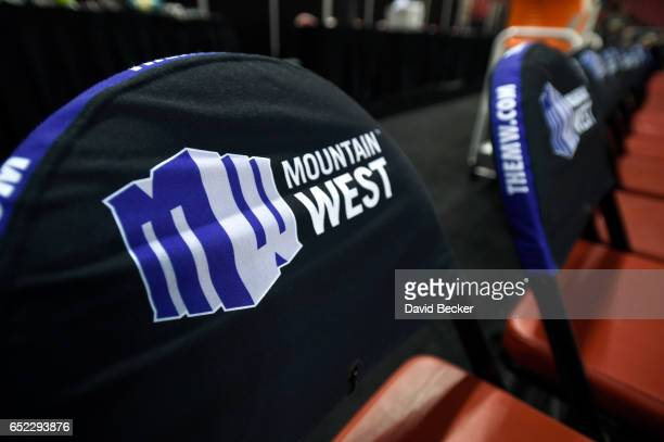 A general view of the seats with Mountain West Conference seat covers are seen before the championship game of the Mountain West Conference...