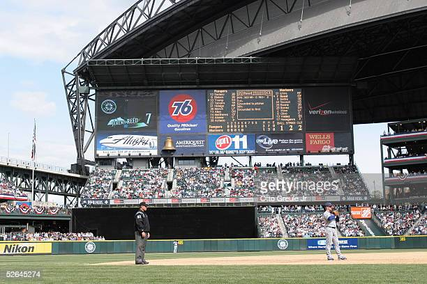 A general view of the Seattle Mariners' scoreboard is seen during the game with the Texas Rangers on April 9 2005 at Safeco Field in Seattle...