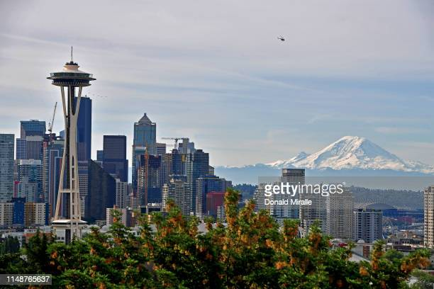A general view of the Seattle Skyline and Mount Rainier from Kerry Park during the 2019 Rock'n'Roll Seattle Marathon and 1/2 Marathon on June 9 2019...