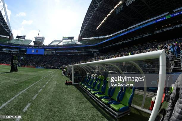 A general view of the Seattle Sounders home bench before an MLS match between the Chicago Fire and the Seattle Sounders at Century Link Field in...