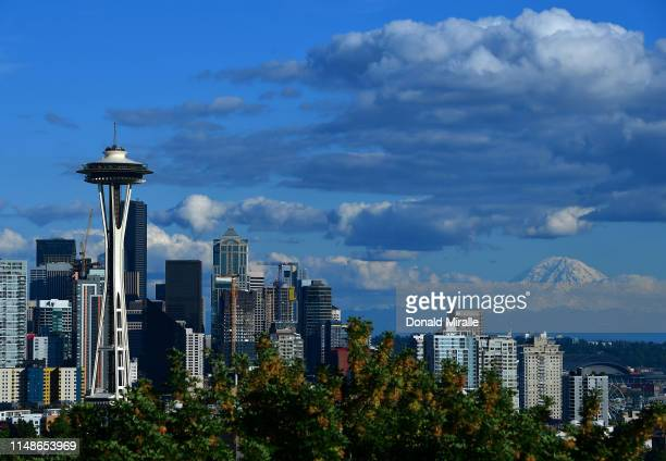 General view of the Seattle Space Needle and downtown skyline with Mount Rainier in the background leading up to the 2019 Rock'n'Roll Seattle...