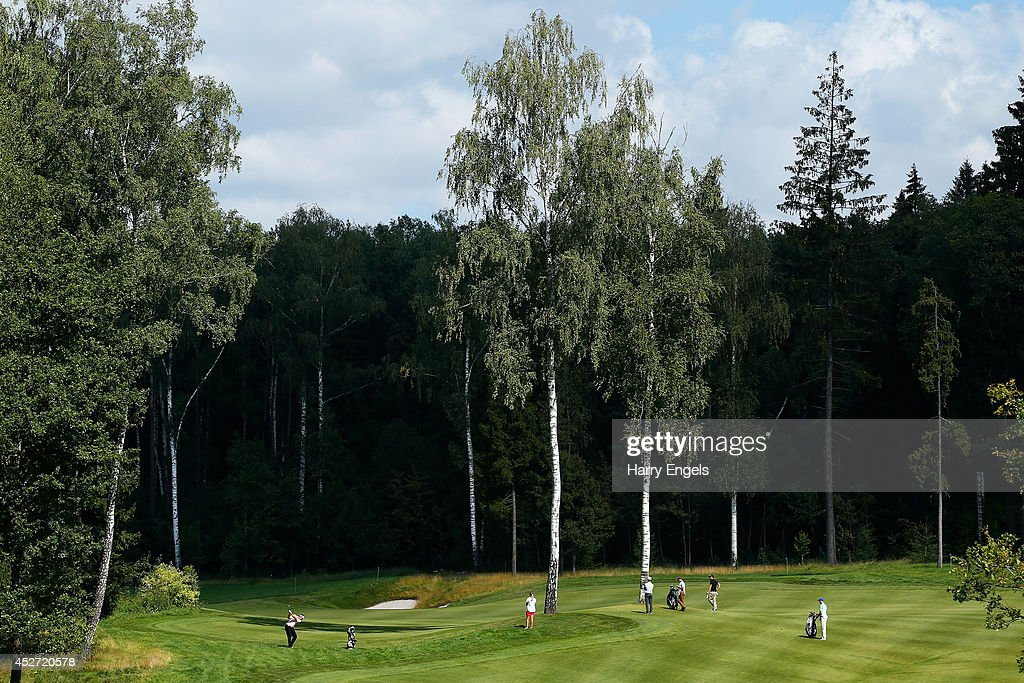 A general view of the second fairway as Sam Walker of England plays a shot on day three of the M2M Russian Open at Tseleevo Golf & Polo Club on July 26, 2014 in Moscow, Russia.