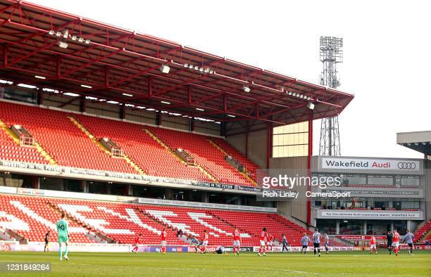General view of the second half action at Oakwell, home of Barnsley during the Sky Bet Championship match between Barnsley and Sheffield Wednesday at...