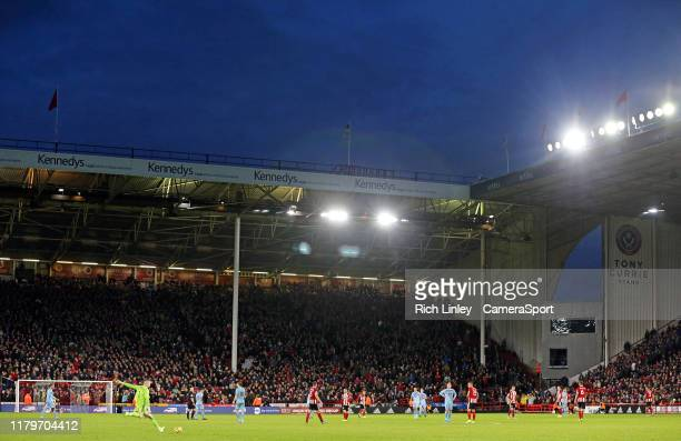 A general view of the second half action under floodlights at Bramall Lane home of Sheffield United during the Premier League match between Sheffield...