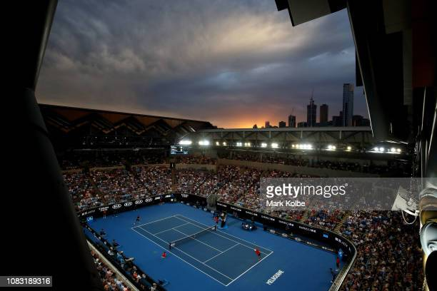 A general view of the second round match between Alex De Minaur of Australia and Henri Laaksonen of Switzerland during day three of the 2019...