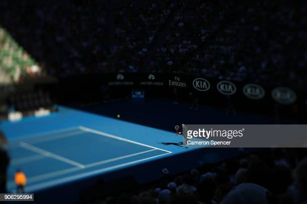A general view of the second round match on Rod Laver Arena between Novak Djokovic of Serbia and Gael Monfils of France on day four of the 2018...