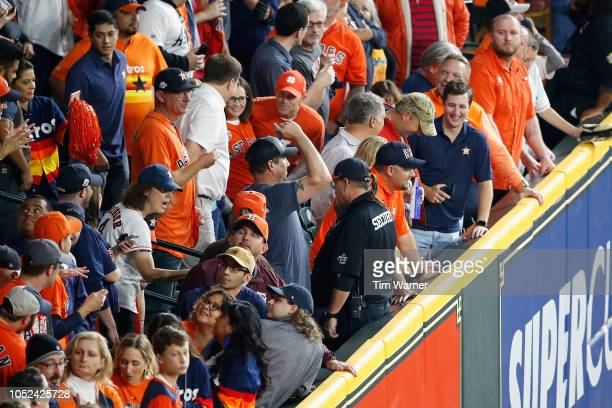 A general view of the section where fan interference occured in the first inning as Mookie Betts of the Boston Red Sox attempted to catch a ball hit...