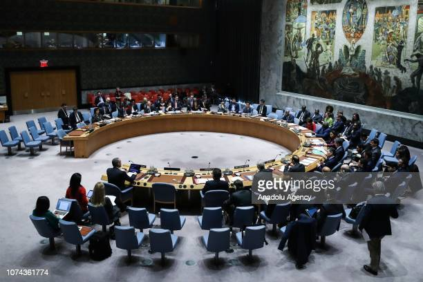 A general view of the Security Council meeting on the situation in Middle East including the Question of Palestine at the United Nations Headquarters...