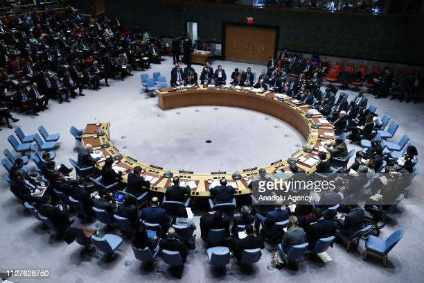 A general view of the Security Council on the situation in Venezuela at the United Nations headquarters in New York United States on February 26 2019