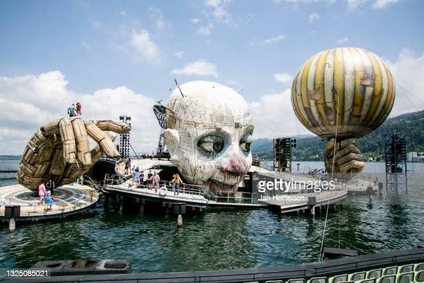 """General view of the 'Seebuehne Bregenz' during rehearsals for """"Rigoletto"""" ahead of the Bregenz Festival 2021 at Seebühne Bregenz on June 23, 2021 in..."""