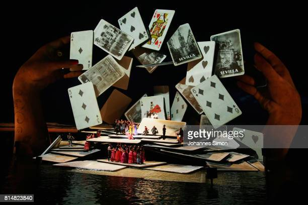 General view of the Seebuehne floating stage design, seen during the rehearsal of the opera 'Carmen' prior the Bregenz Festival on July 14, 2017 in...