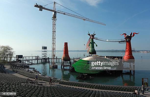 General view of the 'Seebuehne' under construction during the roofing ceremony on April 24, 2013 in Bregenz, Austria. The premiere of the opera on...