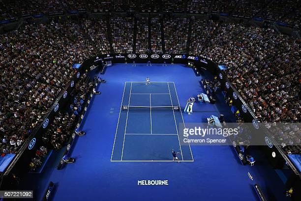 A general view of the semi final match between Roger Federer of Switzerland and Novak Djokovic of Serbia during day 11 of the 2016 Australian Open at...