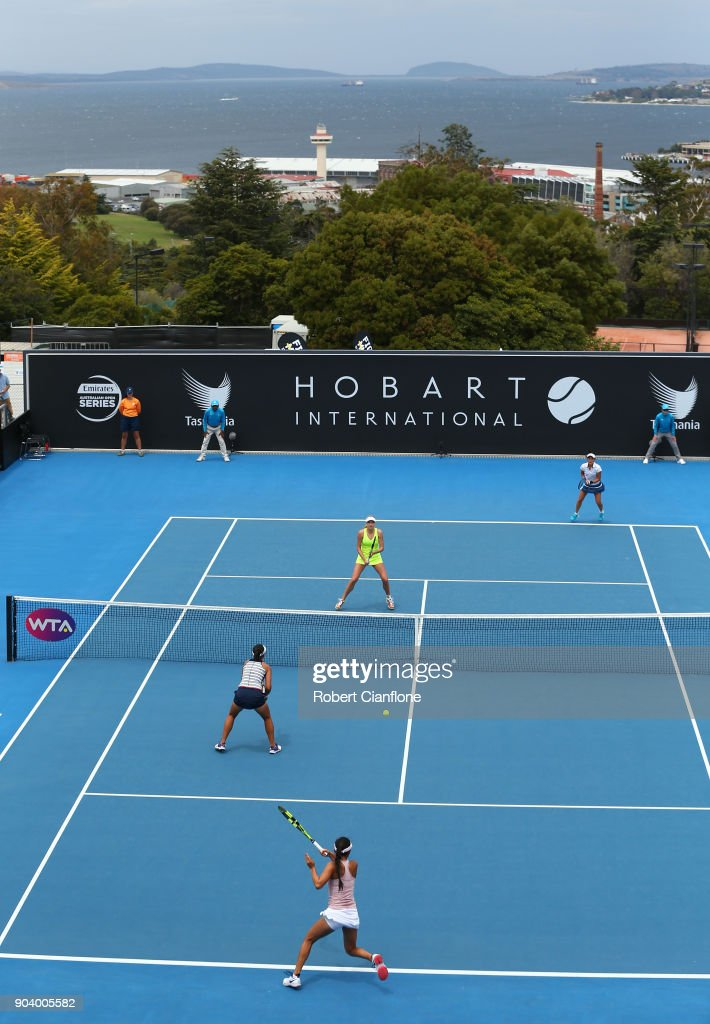 A general view of the semi finals doubles match between Lyudmyla Kichenok of the Ukraine and Makoto Ninomiya of Japan and Alison Bai of Australia and Lizette Cabrera of Australia during the 2018 Hobart International at Domain Tennis Centre on January 12, 2018 in Hobart, Australia.