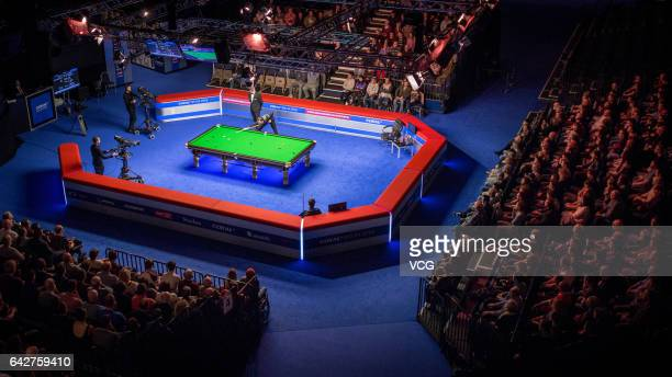 General view of the semifinal match between Judd Trump of England and Scott Donaldson of Scotland on day six of 2017 Coral Welsh Open at the...