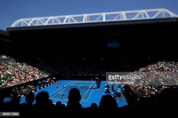 A general view of the semifinal match on Rod Laver Arena between Caroline Wozniacki of Denmark and Elise Mertens of Belgium on day 11 of the 2018...