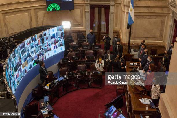 General view of the senate as vice president of Argentina Cristina Fernandez de Kirchner interacts with lawmakers in a conference call during...