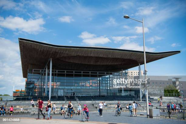 A general view of the Senedd home of the Welsh National Assembly in Cardiff Bay on May 13 2018 in Cardiff United Kingdom