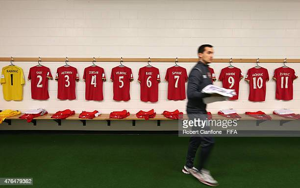 A general view of the Serbia dressing room prior to the FIFA U20 World Cup New Zealand 2015 Round of 16 match between Serbia and Hungary at Otago...