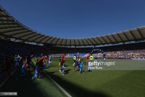 A general view of the Serie A match between AS Roma and SSC Napoli at Stadio Olimpico on March 31 2019 in Rome Italy