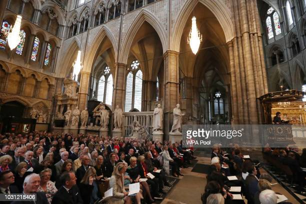 A general view of the service of thanksgiving for the late English theatre opera and film director Peter Hall takes place at Westminster Abbey on...