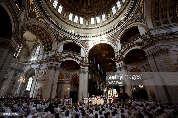 A general view of the service to mark the 20th anniversary of the ordination of women as priests in the Church of England at St Paul's Cathedral on...