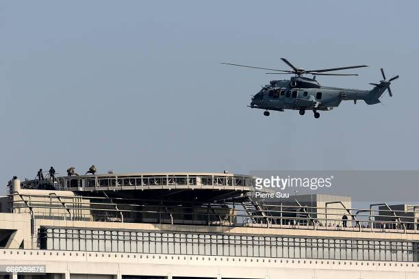 General view of the set of Mission Impossible 6 on the rooftop of the french ministry of finance on April 8 2017 in Paris France