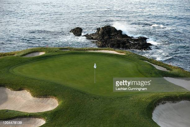 A general view of the seventh green at Pebble Beach Golf Links during a practice round prior to the ATT Pebble Beach ProAm at Pebble Beach Golf Links...