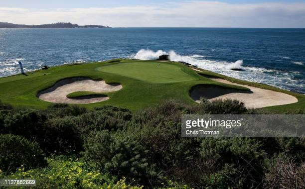 A general view of the seventh green during a practice round prior to the ATT Pebble Beach ProAm at Pebble Beach Golf Links on February 06 2019 in...