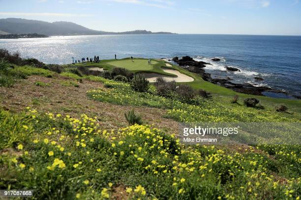 A general view of the seventh green during the Final Round of the ATT Pebble Beach ProAm at Pebble Beach Golf Links on February 11 2018 in Pebble...