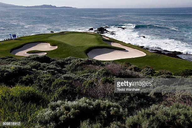 A general view of the seventh green during the second round of the ATT Pebble Beach National ProAm at the Pebble Beach Golf Links on February 12 2016...