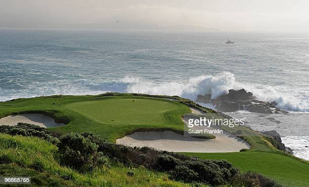 A general view of the seventh green during the third round of the ATT Pebble Beach National ProAm at Pebble Beach Golf Links on February 13 2010 in...