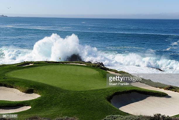 A general view of the seventh hole before the final round of the ATT Pebble Beach National ProAm at Pebble Beach Golf Links on February 14 2010 in...
