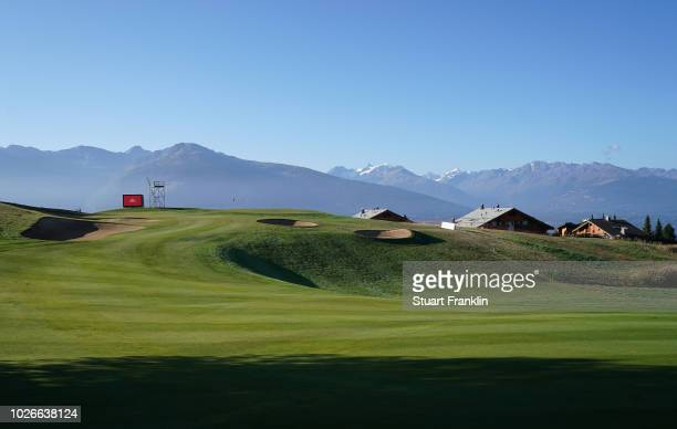 A general view of the seventh hole during practice prior to the start of Omega European Masters at CranssurSierre Golf Club on September 4 2018 in...