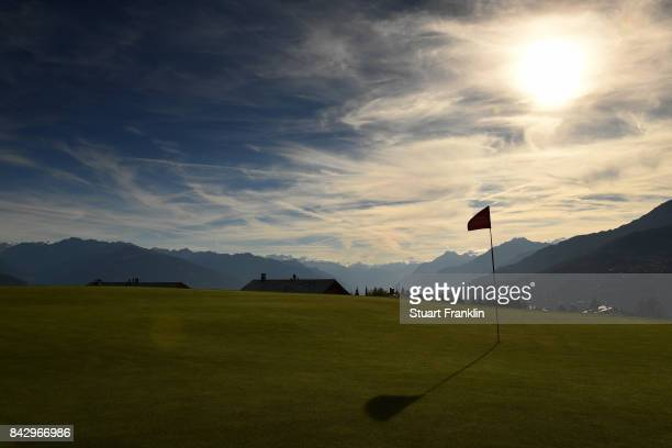 A general view of the seventh hole during practice prior to the start of the Omega European Masters at CranssurSierre Golf Club on September 5 2017...