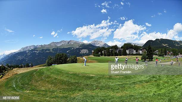 A general view of the seventh hole during the third round of the Omega European Masters at CranssurSierre Golf Club on July 25 2015 in CransMontana...