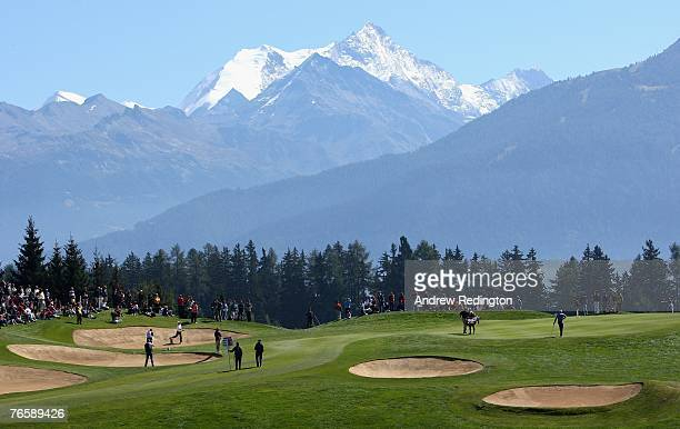 A general view of the seventh hole during the third round of the Omega European Masters at CransSurSierre Golf Club on September 8 2007 in Crans...