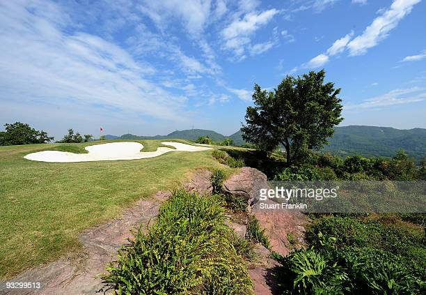 A general view of the seventh hole on the Annika Sorenstam course at the Donggaun golf complex on November 22 2009 in Shenzhen China