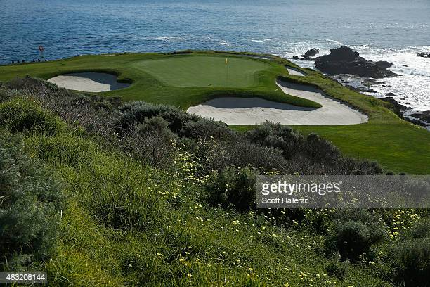 A general view of the seventh hole prior to the start of the ATT Pebble Beach National ProAm at the Pebble Beach Golf Links on February 11 2015 in...