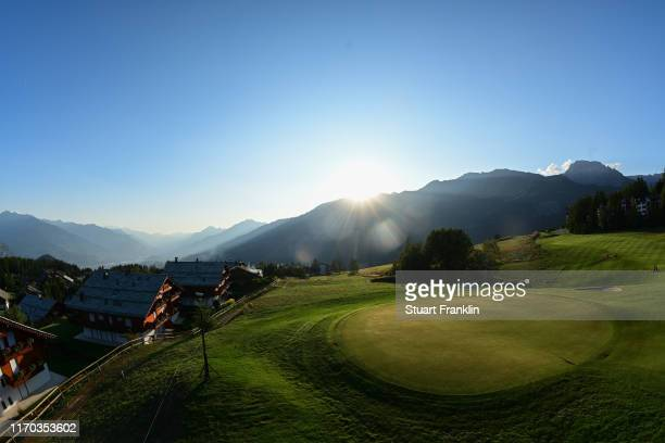 A general view of the seventh hole prior to the start of the Omega European Masters at Crans Montana Golf Club on August 26 2019 in CransMontana...