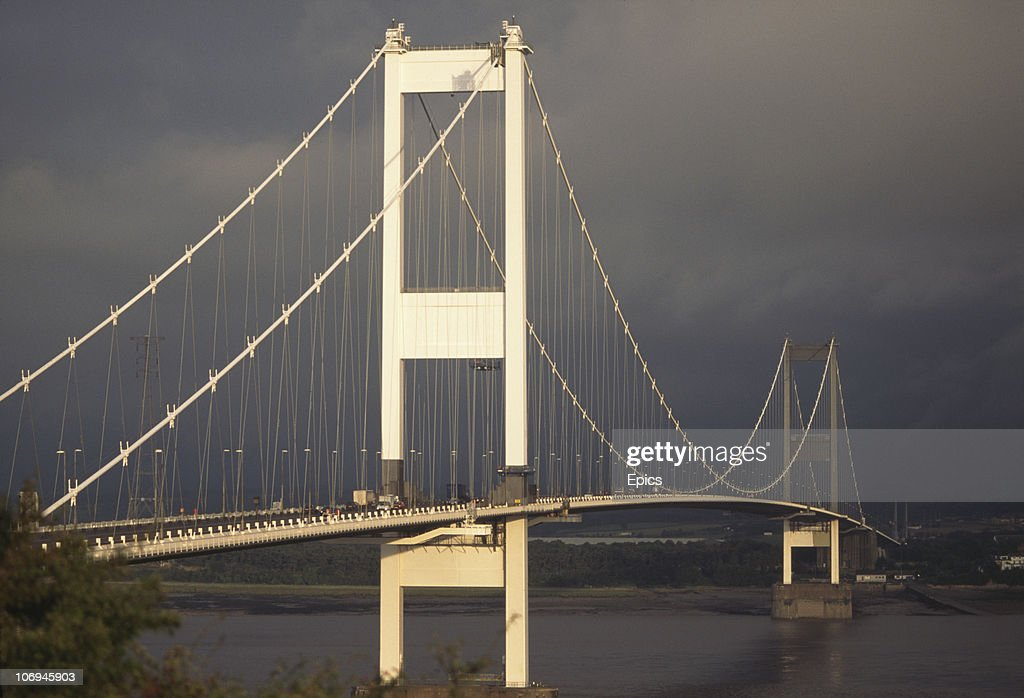 A general view of the Severn Bridge, a suspension bridge which crosses the River Severn between South Gloucestershire, north of Bristol, England, and Monmouthshire in South Wales, circa 1990. The bridge took five years to construct and was opened on 8th September 1966.