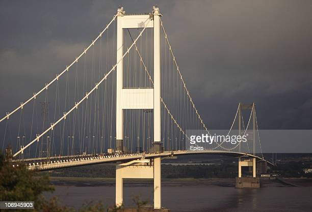 A general view of the Severn Bridge a suspension bridge which crosses the River Severn between South Gloucestershire north of Bristol England and...