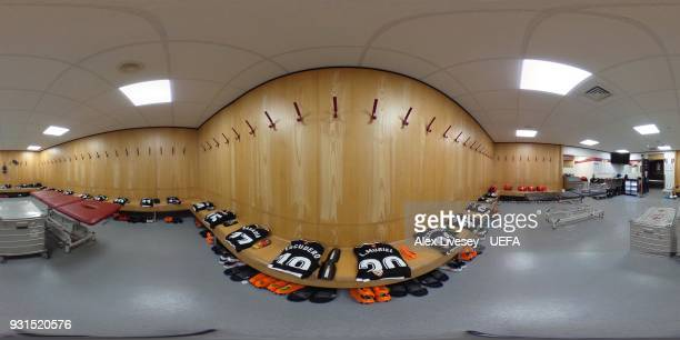 A general view of the Sevilla FC dressing room ahead of the UEFA Champions League Round of 16 Second Leg match between Manchester United and Sevilla...