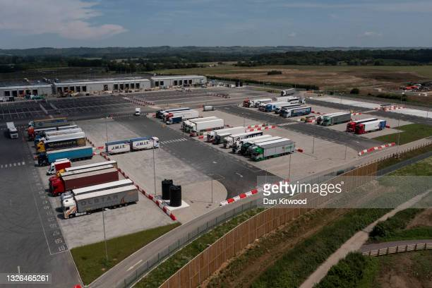 General view of the Sevington Inland Border Facility's customs checkpoint off the M20 in Kent on July 01, 2021 in Ashford, United Kingdom.