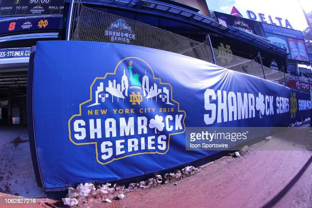 General View of the Shamrock Series Logo inside of Yankee Stadium prior to the College Football game between the Notre Dame Fighting Irish and the...